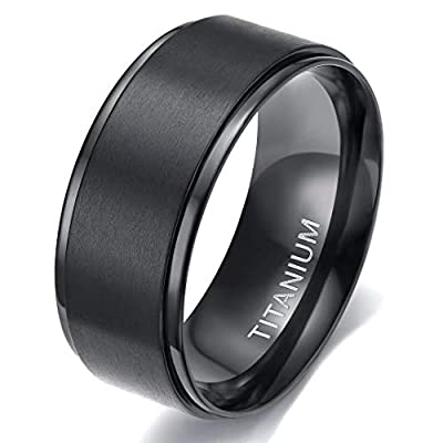 TIGRADE 4mm 6mm 8mm 10mm Black Titanium Rings Wedding Band Matte Comfort Fit for Men Women, 10MM, Size 10