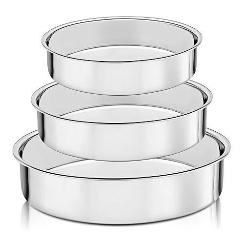 HaWare Set di 3 teglie rotonde in 100% acciaio inox, salutari e resistenti, finitura a specchio, facili da pulire, lavabili in lavastoviglie (20 cm/24 cm/28 cm)