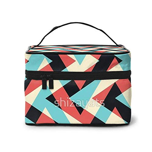 JDYU Crazy Retro Zickzack Make-up Tasche Große Kosmetiktasche Fall Make-up Fall Organizer...