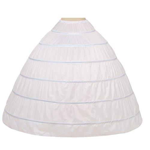 Noriviiq Damen 6 Reifrock Petticoat Crinoline Eine Linie Bodenlänge Hochzeitskleider Unterrock (Weiß)