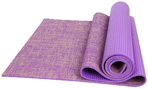 Esterilla de yoga profesional, antideslizante, sin sabor, alargada para principiantes, mujeres, deportes, yoga, fitness, tapete de entrenamiento (color: morado)