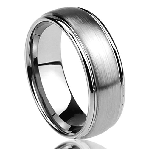 Prime Pristine Titanium Wedding Band Ring for Men & Women Brushed Center Domed Ring for Men & Woman SZ: 13