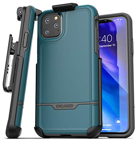 Encased iPhone 11 Pro Max Belt Clip Holster Case (2019 Rebel Armor) Heavy Duty Protective Full Body Rugged Cover with Holder (Turquoise Blue)