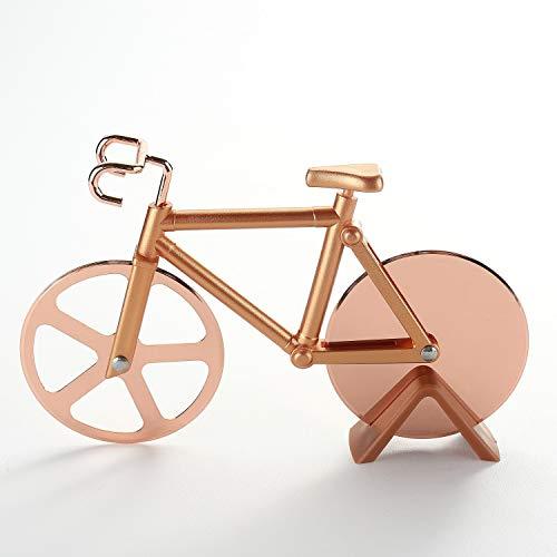 Fahrrad-Pizzaschneider, Edelstahl, doppelter Pizzaschneider, Rad, lustiger Pizzaschneider, cooles Küchenutensil, Pizzaschneider Klinge, bestes Geschenk (goldfarben)