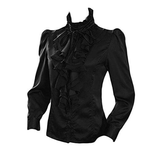 Nanxson Damen Formal Langarm Spitzen Stehkragen Vintage Hemd Bluse CSW0033 (XL, Schwarz)
