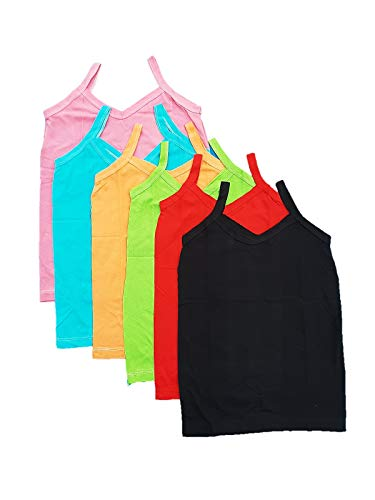 SUNUO Girl's Cotton Camisole (Pack of 6) (sls6_Multicolored_10-11 Years)