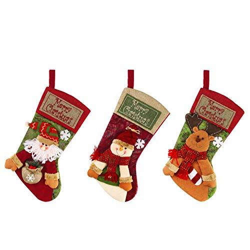 NW 1776 Calcetines, decoración navideña Grande (18 Pulgadas) Santa Snowman Reindeer 3pcs