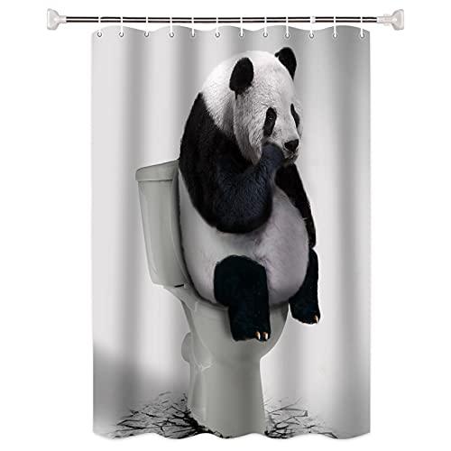 SUUZQK Pensando Animal Viento Cortina De Ducha Baño Partición Engrosada Impermeable Y Resistente Al Moho Cortina De Pantalla De Baño Enviar Gancho 91x198cm
