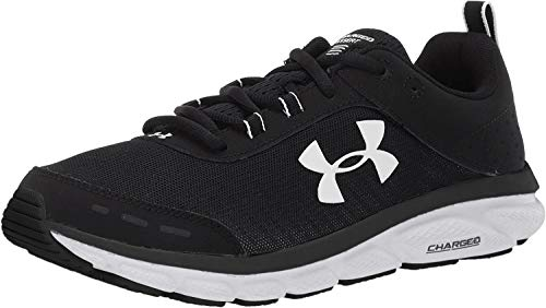 Under Armour womens Charged Assert 8 Running Shoe, Black/White, 9.5 US