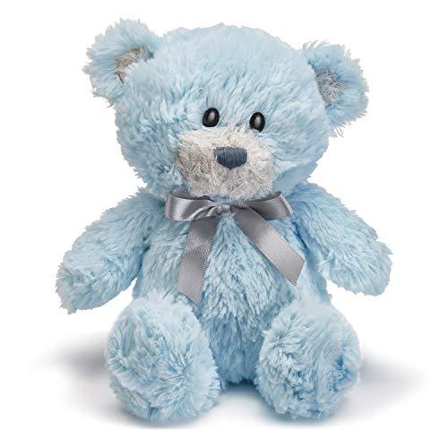 Demdaco Blue Austen Bear with Satin Bow Tie 10 Inch Children's Plush Stuffed Animal Toy