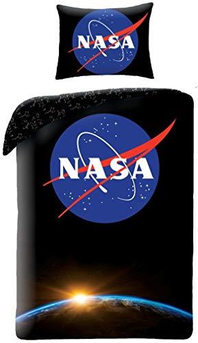 Halantex NS4051 - NASA Logo Deep Black Space Official Single Duvet Cover Set - Multicolour - 100% Cotton - 140 x 200 cm + 70 x 90 cm