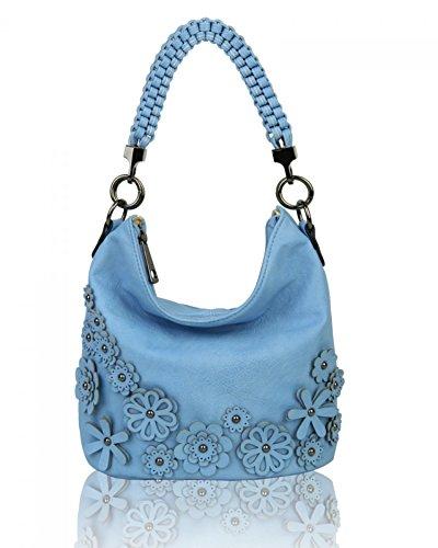 LeahWard Women's 3D Flower Handbags Soft Shoulder Bags Tote Handbag For Womens Holiday 1048 (QUAY BLUE)