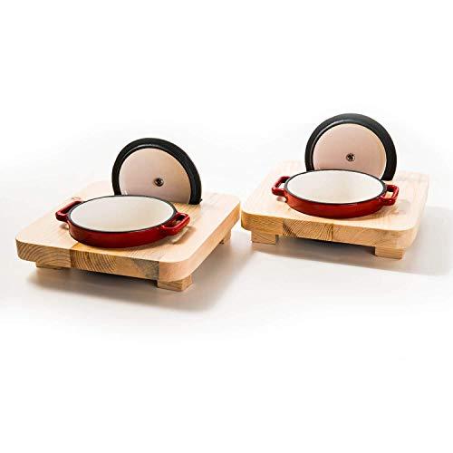 Mini Kasserolle mit Deckel und Emaille | Cocotte aus Gusseisen geeignet für Induktion und Backofen | 2 x 250 ml