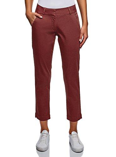 oodji Ultra Mujer Pantalones Chinos de Algodón, Rojo, ES 44 / XL