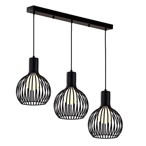Vintage Lustre Luminaire Suspension Cage, Industriel lampe de plafond Rétro Abat-jour en Métal 3 Lampes E27 Corde Ajustable pour Salon Cuisine Chambre, Noir