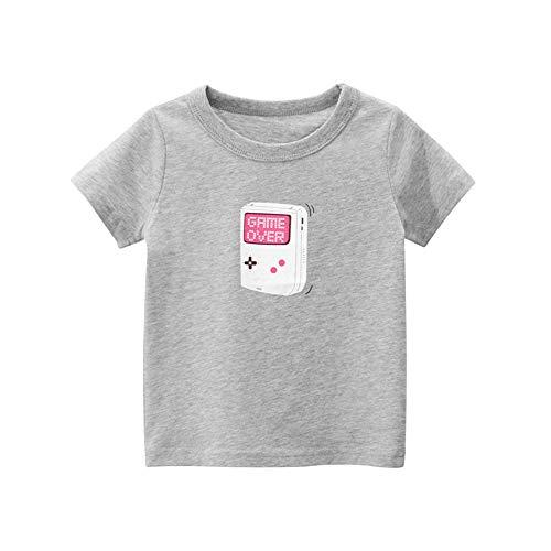 Sommer T-Shirt für 1-10 Jahre Alt Kinder Jungen Mädchen mit Cartoon Auto Muster - DOTBUY 100% Baumwolle - Rundhals Kurzarm T-Shirt Oberteil Kurzarm Oberteil (Graue Spielekonsole,130cm)