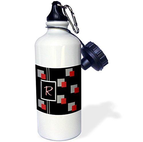 3dRose - Botella de agua moderna geométrica con monograma de letras R-Sports con monograma, 21 oz (wb_215235_1), aluminio, blanco
