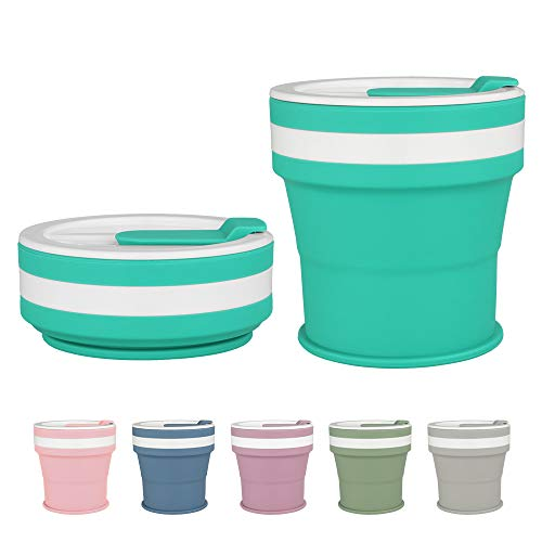 COGO MAN Collapsible Coffee Cup, Silicone Travel Cup with Lids, Reusable Camping Tea Cup, Portable Foldable Hiking Cup, Lightweight, 12 oz (Jade)