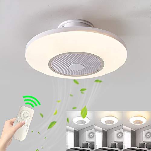 Deckenventilator mit Beleuchtung, Deckenventilator Fan LED Deckenlampe, 3 Geschwindigkeit einstellbar & 3 Farben dimmbar mit Fernbedienung, 45W Moderne led Deckenleuchte für Schlafzimmer Wohnzimmer