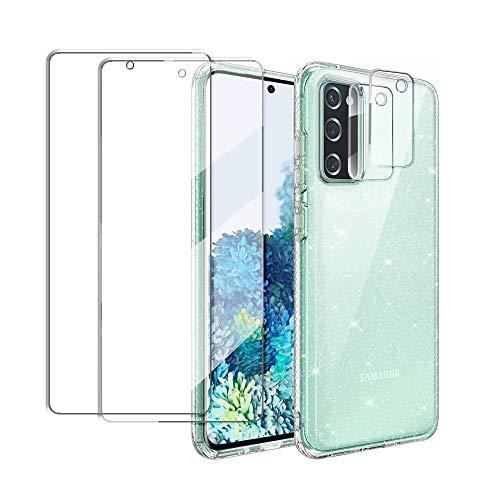Funda compatible con Samsung Galaxy S20 FE 5G/4G con 2 Unidades de Protector de Pantalla de Cristal Templado y 2 Protector de Lente de Cámara, Carcasa Transparente Glitter Brillante de Silicona TPU