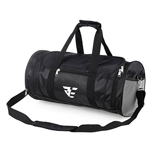 XMBEDERT Gym Sports Duffle Bag with Shoes Compartment Travel Duffel Fitness Bag, Black