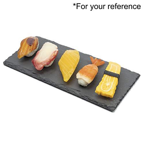Juego de 4 platos de sushi rectangulares de pizarra, bandeja de sushi, plato de queso estilo piedra