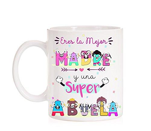 FUNNY CUP Taza Eres la Mejor Madre y una Super Abuela Taza Regalo para Madres o Abuelas día. Taza Divertida Muy Chula con Caja Decorativa de Regalo