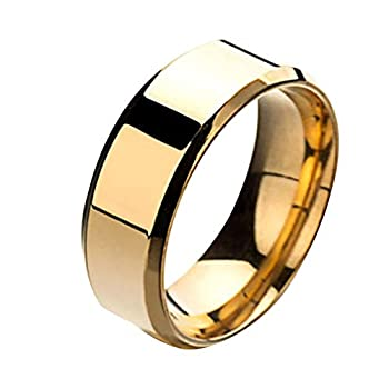 Wintefei Fashion Simple Unisex Lovers Stainless Steel Mirror Finger Rings Jewelry Gifts - Golden US 9