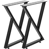 """Happybuy Metal Table Legs Set of 2 Black Desk Legs 16"""", Height 18"""" Width Bench Legs Zig Zag Style Coffee Table Legs 1763lbs Load Capacity Steel Table Legs Heavy Duty Base Modern DIY"""