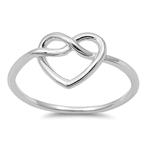 Women's Heart Infinity Knot Classic Ring New 925 Sterling Silver Band Size 3