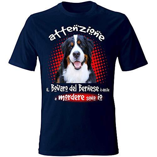 12Print T-Shirt: Attenzione, Il Mio Bovaro del Bernese è docile a mordere Sono io. Colore Blu Taglia L