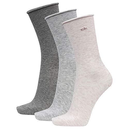 Calvin Klein Socks Womens Crew 3p roll top Emma Socks, Light pink Grey Combo, ONE SIZE