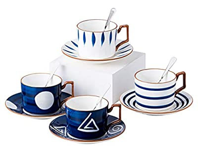 Jusalpha Japanese style hand printed- 7oz Fine China Tea Cup/Coffee Cup With Spoon and Tray/Saucer Set, Tableware, Serve of 4, TCS25