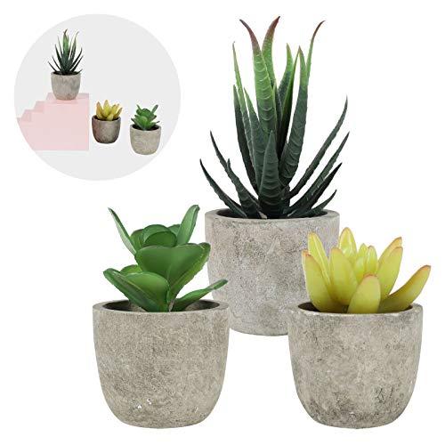 LITLANDSTAR Kleine künstliche Sukkulenten im Topf, Packung mit 3 künstlichen Sukkulenten Mini-künstliche Pflanzen Grüne Sukkulenten mit runden grauen Mini-Töpfen