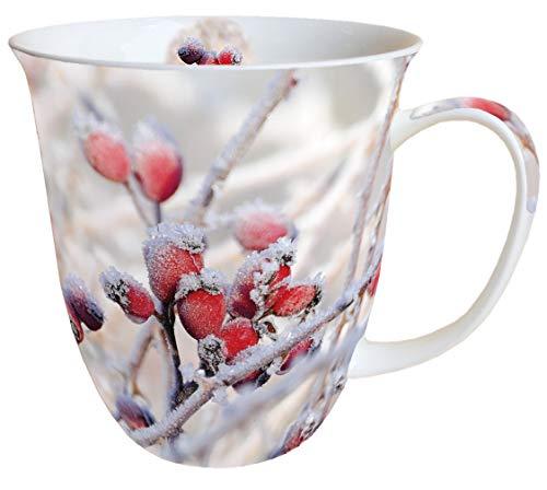 Ambiente Porzellan Tasse Becher Bone China Mug Frozen Rosehips Fuer Tee Oder Kaffee ca. 400ml Herbst Winter Weihnachten Ideal Als Geschenk