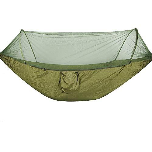 Camping Hamcock con Mosquitera Net Pop-Up Light Portátil Al Aire Libre Paracaídas Hamacas Columpio Durmiendo Hamaca Camping Cosas de Campamento Azul y Azul (Color : Army Green)