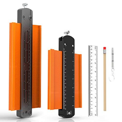 Konturenlehre mit Feststeller Unregelmäßiges Konturmessgerät für Holzbearbeitung, Ecken & Fliesen Messung (16cm & 25cm)