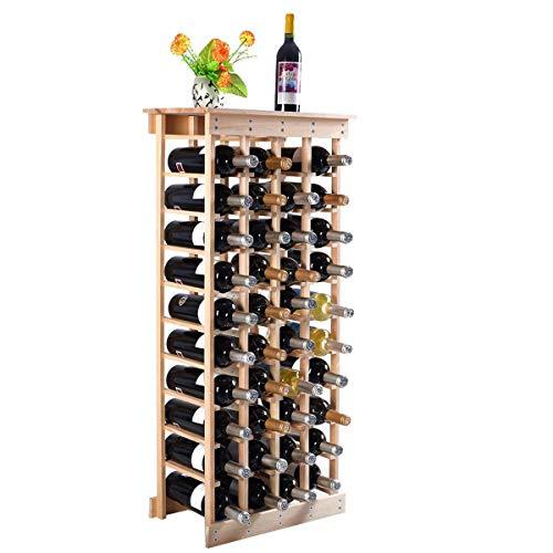COSTWAY Portabottiglie di Vino, Scaffale per 44 Bottiglie di Vino in Legno di Pino, 113 x 46 x 27,5 cm