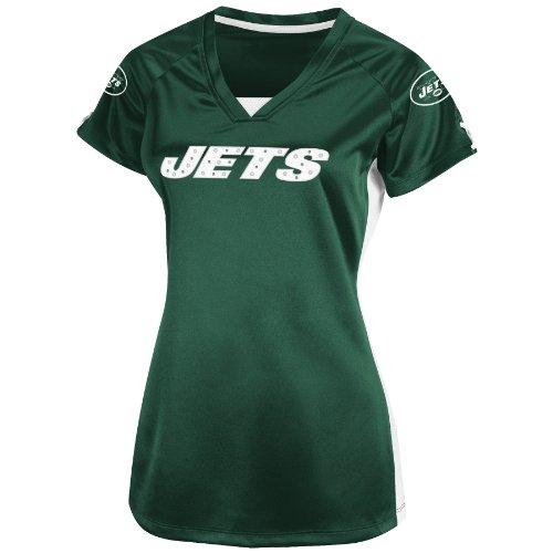 NFL Damen T-Shirt New York Jets Draft Me V Dunkelgrün/Weiß/Weiß Kurzarm Raglan V-Ausschnitt, Damen, Dunkelgrün/Weiß/Weiß, Small