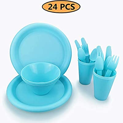 Layron Camping Cookware Accessories Plastic Dishes Plates Cups and Bowls Utensils Camping Table Supplies Dinnerware Set Dorm Party Essentials Cooking Set Microwaveoven-Safe BPA-Free
