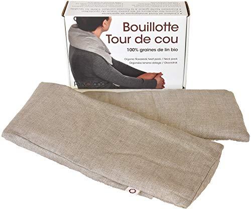Revolana Bouillotte sèche Tour de Cou en graines de Lin Bio - 72x15cm - Housse Amovible 100% Lin