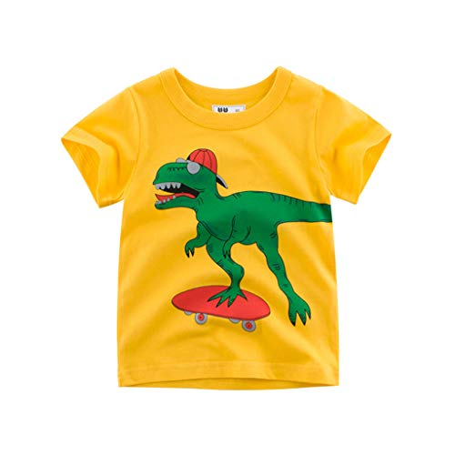 Julhold Children Kids Baby Girls Boys Leisure Cool Cartoon Print Cotton Comfortable T-Shirt Tee Tops Clothes 1-6 Years Yellow