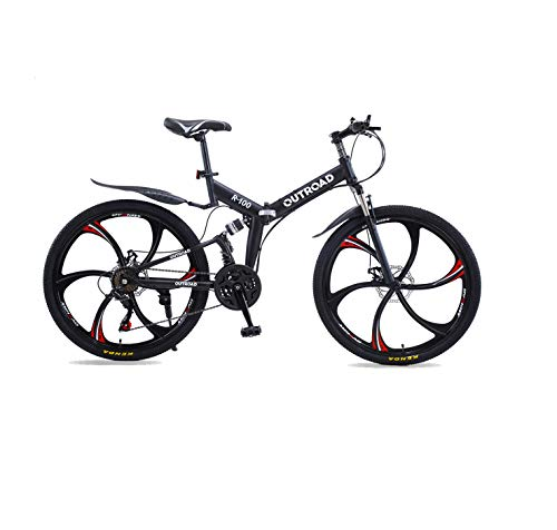 PanAme 26 Inch Folding Bike, Mountain Bike with 6 Spoke Wheels and 21 Speed Shimano Shifter, Full Suspension Anti-Slip Bicycle for Adult, Black