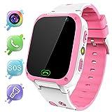 MeritSoar Tech Smartwatch para Niños - LBS Tracker Smartwatch niños niñas con Llamada SOS Voice Chat Despertador Linterna Juego de cámara para niños Compatible con iOS y Android (Rosa)