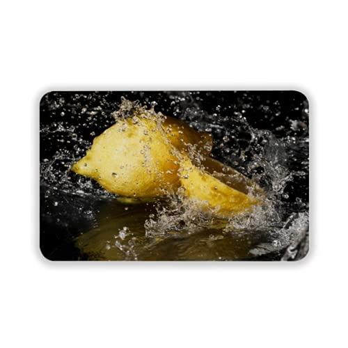 Tapete para Piso, tapetes de Bienvenida de Caucho Natural Duradero ,Fresh Water Drops on Lemon on Black Background,Alfombra para Interiores y Exteriores 15 by 24 Inches