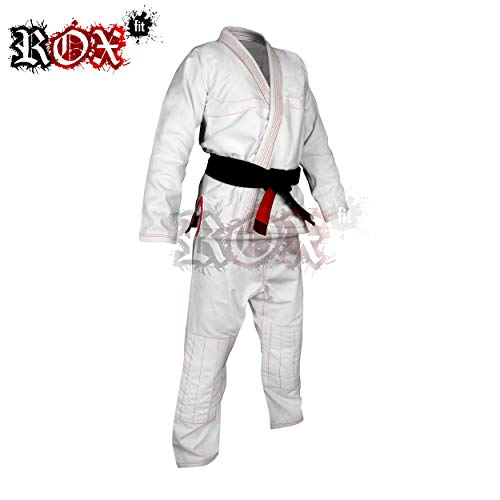 Rox Fit BJJ Gi trajes incluye cinturón blanco para la competencia Brazilian Jiu Jitsu Brasileño – Tamaños de color blanco con costuras de color rojo, A0, A1, A2, A3, A4, A5, A6, color Blanco - White Suit With Red Stitching, tamaño A4