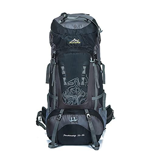 LZJDS Bolsa de montañismo al Aire Libre Mochila Deportiva de Gran Capacidad Impermeable Durable Daypack para Montar en Caminata,Negro