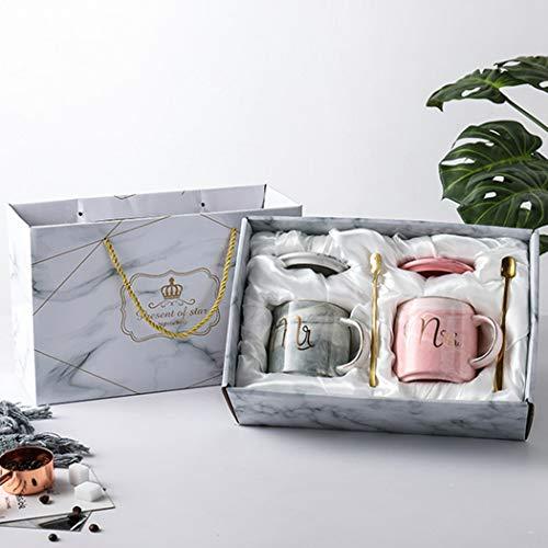 CHIGUO Kaffeetassen Mr and Mrs Tassen Set Keramik Becher Geschenkbox 360ML Geschenk zum Weihnachten, Thanksgiving, Valentinstag, für Hochzeit, Verlobungen, Jubiläum, Geburtstage
