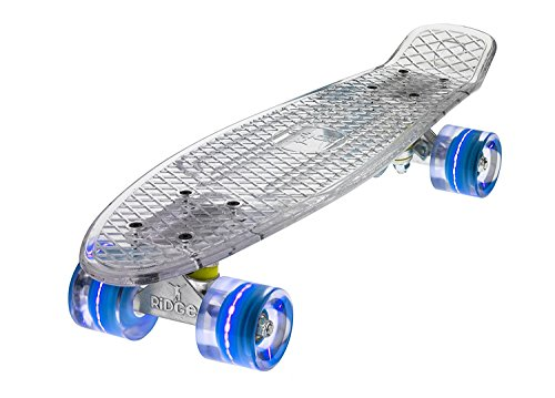 Ridge Skateboards Blaze Mini Cruiser Skateboard, Trasparente/Blu, 22'