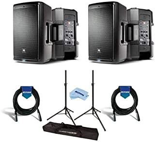 JBL 2 Pack EON610 10in Class D Two-Way Multipurpose Self-Powered Sound Reinforcement Speaker, 60Hz-20kHz, Single - Bundle with Ultimate JamStands JS-TS50 Tripod-Style Speaker Stand 6' Pair, And More